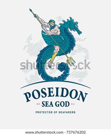 Colored vector illustration of Poseidon riding a seahorse