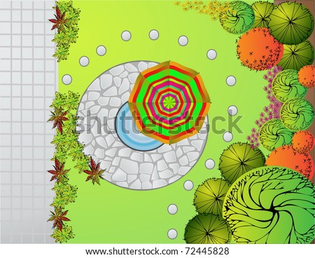 Colored vector Landscape  Plan with lake and bridge