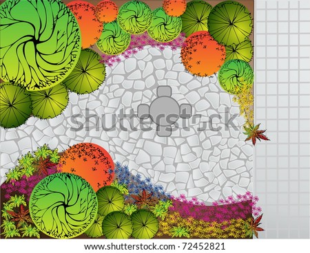 Colored vector Landscape  Plan with table and chairs