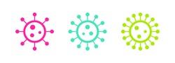 Colored vibrant virus icons. Circle virus icons, symbols. Coronavirus, COVID 19, 2019-ncov signs. Vector illustration.