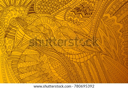 Colored vintage  background, steampunk doodle style, golden yellow gradient color, isolated background. Vector hand drawing psychedelic abstract frame.