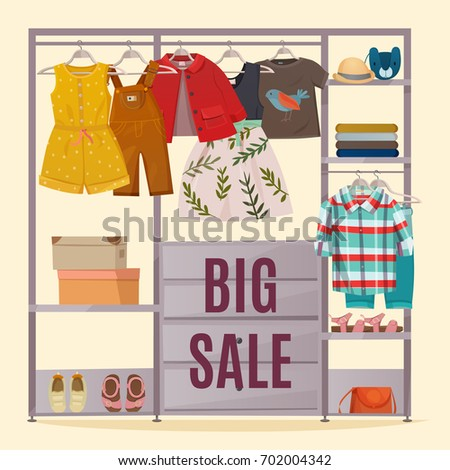 Colored wardrobe poster with clothes hanging in closet and big sale headline vector illustration