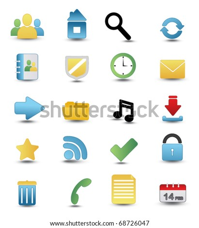 Colored Web and Media Vector Icon Set