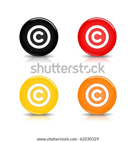 Colored web 2.0 button with copyright sign. Round shapes with reflection and shadow on white background. 10 eps