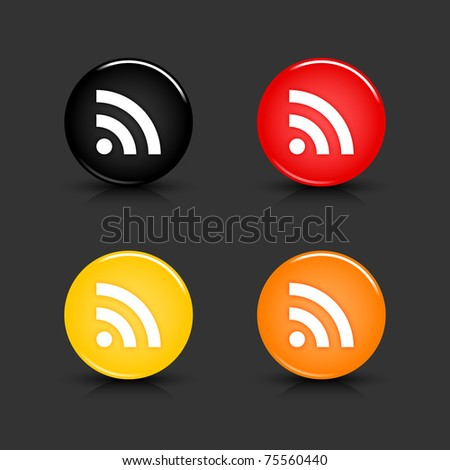 Colored web button with RSS sign. Round glassy shapes with shadow and reflection on gray. 10 eps
