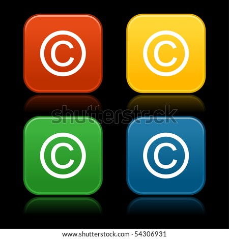 Colored web 2.0 buttons with copyright symbol. Rounded square shapes with reflection on black background