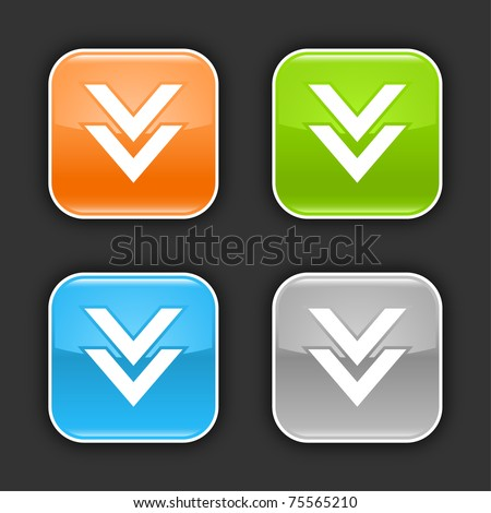 Colored web buttons with download sign. Glossy rounded square shapes with shadow on gray. 10 eps