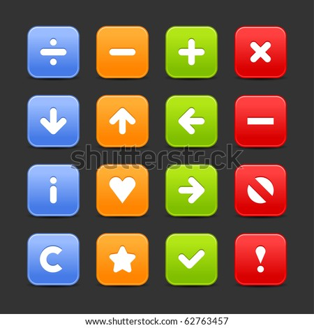 Colored web 2.0 buttons with navigation icon. Smooth satined rounded square shapes with shadow on gray background