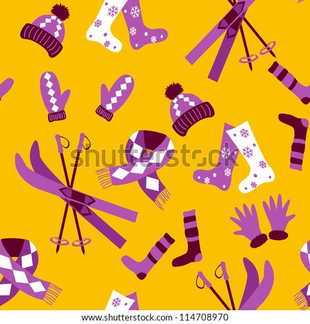 Colored winter seamless pattern in simple style