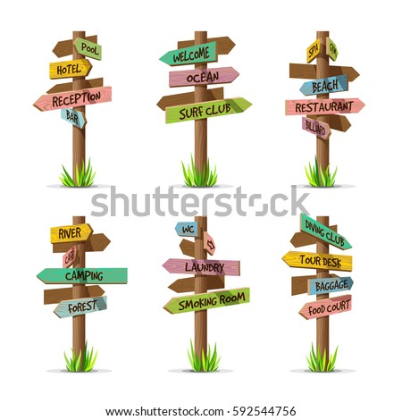colored wooden arrow signboards