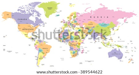Colored World Map - borders, countries and cities - illustration  Image contains layers: - land contours - country and land names - city names - water object names   #389544622