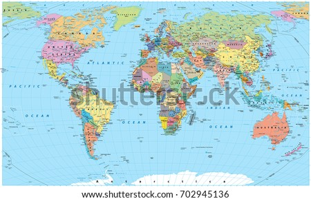 Colored World Map - borders, countries, roads and cities. Detailed World Map vector illustration. #702945136