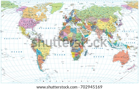Vector detailed world map download free vector art stock graphics colored world map borders countries roads and cities isolated on white gumiabroncs Gallery