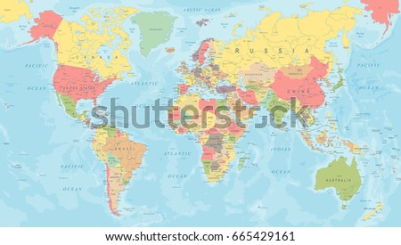 Colored World Map - Detailed Vector Illustration