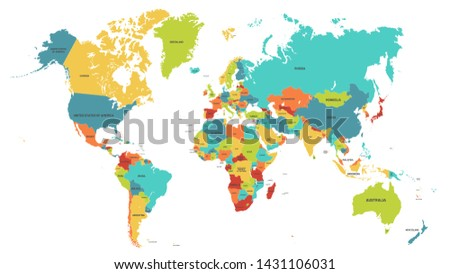 Colored world map. Political maps, colourful world countries and country names. Geography politics map, world land atlas or planet cartography vector illustration