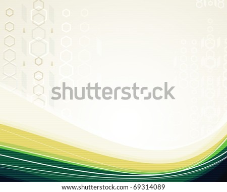 Colored yellow-green background with lines for the design work (vector)