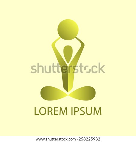 Colored yoga pose vector logo design template. Beauty, Spa, Relax, Massage, Meditation, Nirvana concept icon.