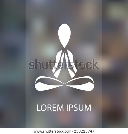 Colored yoga pose vector logo design template on blured background. Beauty, Spa, Relax, Massage, Meditation, Nirvana concept icon.
