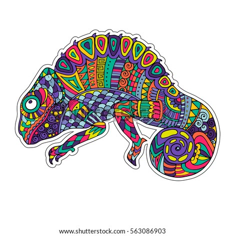 colored zentangle chameleon
