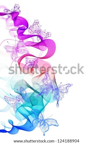 Colorful abstract background with butterfly and wave, illustration for design, vector