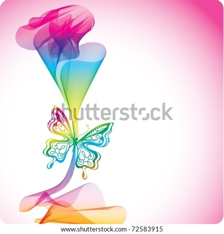 Colorful abstract background with butterfly. Vector Illustration