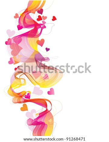 Colorful abstract background with hearts and wave, vector, eps10
