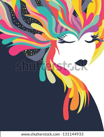 Colorful abstract background with woman