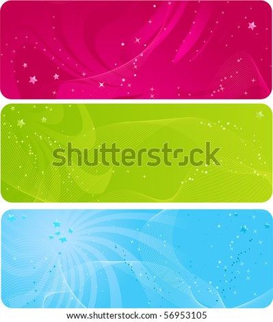 Colorful abstract banners with wave design and sparkling stars
