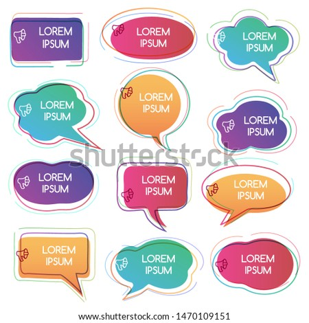 Colorful Abstract Chat Label or text Bubbles set. Vector illustration.