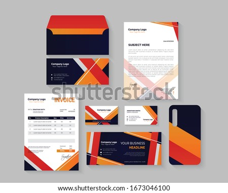 Colorful Abstract Corporate Business Brand Identity Stationary Set with Business card, Letterhead, Invoice, Envelopes Design Template Foto d'archivio ©