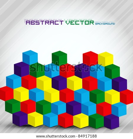 Colorful Abstract Cubes - Vector Background