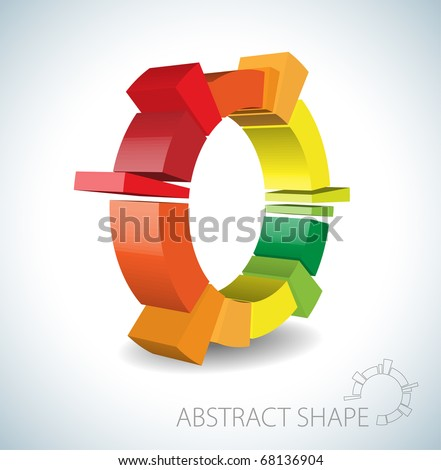 Colorful abstract 3D shape on light background