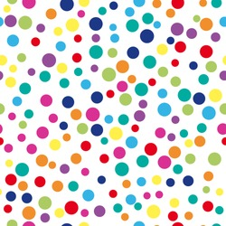 Colorful abstract dot background. Vector illustration for bright design. Circle art round backdrop. Seamless pattern decoration. Color texture holiday element wallpaper. Decor fun spot card Happy mood