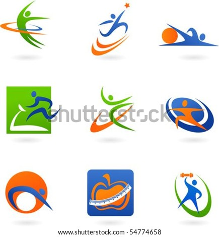 colorful abstract fitness icons