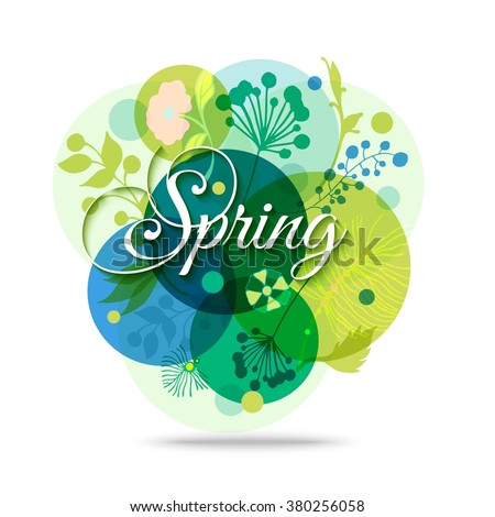 Colorful Abstract Flower Background. Spring Floral Transparent Background. Spring Mood. Spring Haze. Springtime Background. Vector Nature Background.