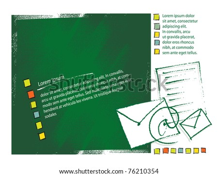 Colorful abstract frame design, mailing motive (drawing, chalk technique, textured grunge vector)