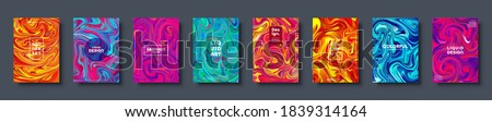 Colorful abstract geometric background. Liquid dynamic gradient waves. Fluid marble texture. Modern covers set. Vector illustration. Photo stock ©