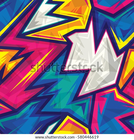 Colorful Abstract Geometric Seamless Pattern. Wallpaper Background