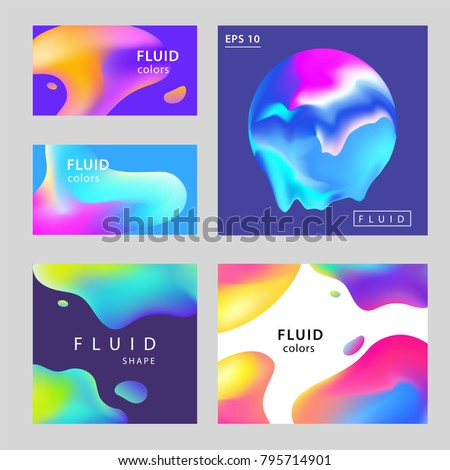 Colorful Abstract Gradient Blurs Set. Trendy Abstract colorful gradient shapes on dark background. For web design, Presentation, Cover