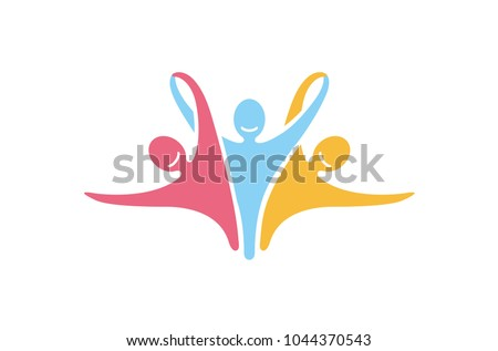Colorful Abstract Happy Winners People Logo Design Illustration