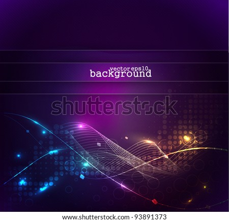 Colorful abstract light wave vector background.