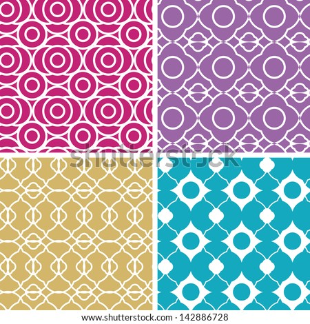 Colorful abstract lineart geometric seamless patterns set