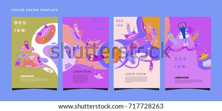 Colorful abstract liquid and curvy covers set. Bubble shapes cartoon character composition. Trendy retro toys design.