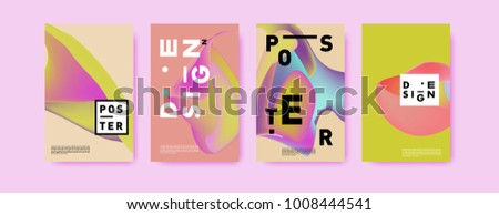 Colorful abstract liquid and fluid poster and cover design. Minimal geometric pattern gradients backgrounds. Eps10 vector. - Shutterstock ID 1008444541