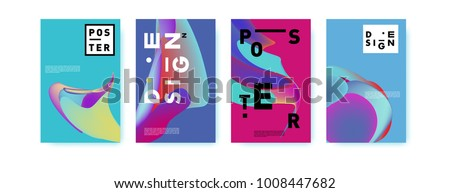 Colorful abstract liquid and fluid poster and cover design. Minimal geometric pattern gradients backgrounds. Eps10 vector.  - Shutterstock ID 1008447682