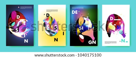 Colorful abstract liquid and fluid poster and cover design. Minimal geometric pattern gradients backgrounds. Eps10 vector. #1040175100