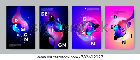 Colorful abstract liquid and fluid poster and cover design. Minimal geometric pattern gradients backgrounds. Eps10 vector. #782602027