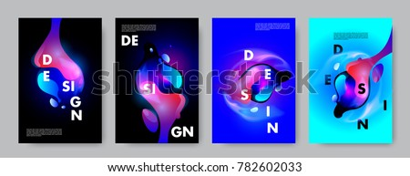 Colorful abstract liquid and fluid poster and cover design. Minimal geometric pattern gradients backgrounds. Eps10 vector. #782602033
