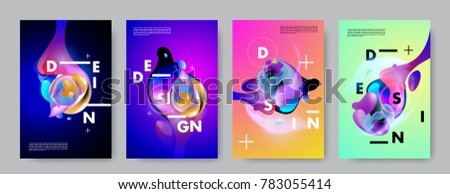 Colorful abstract liquid and fluid poster and cover design. Minimal geometric pattern gradients backgrounds. Eps10 vector. #783055414