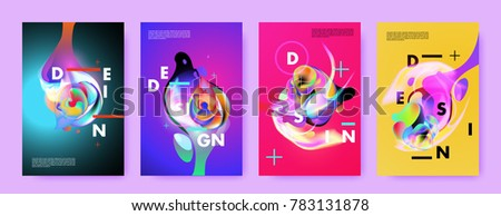 Colorful abstract liquid and fluid poster and cover design. Minimal geometric pattern gradients backgrounds. Eps10 vector. #783131878